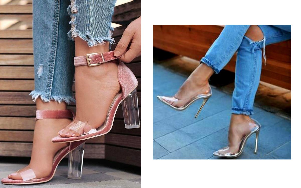 Przezroczyste szpilki i buty z transparentny obcasem: hit letnich kolekcji?