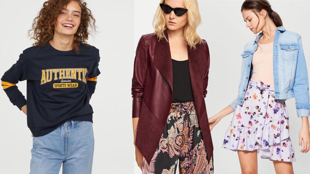 Modne ubrania na jesień, od lewej: bluza z logo H&M (39,90 zł), kurtka z eco-skóry Reserved (99,99zł), spódnica mini Mohito (29,99zł)