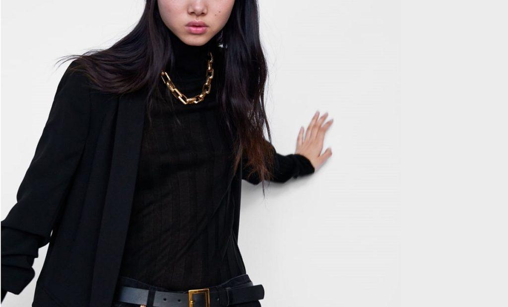 Długi żakiet damski w kolorze czarnym