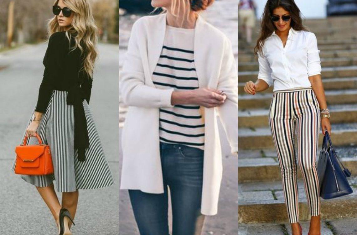 Ubrania w paski stylizacje
