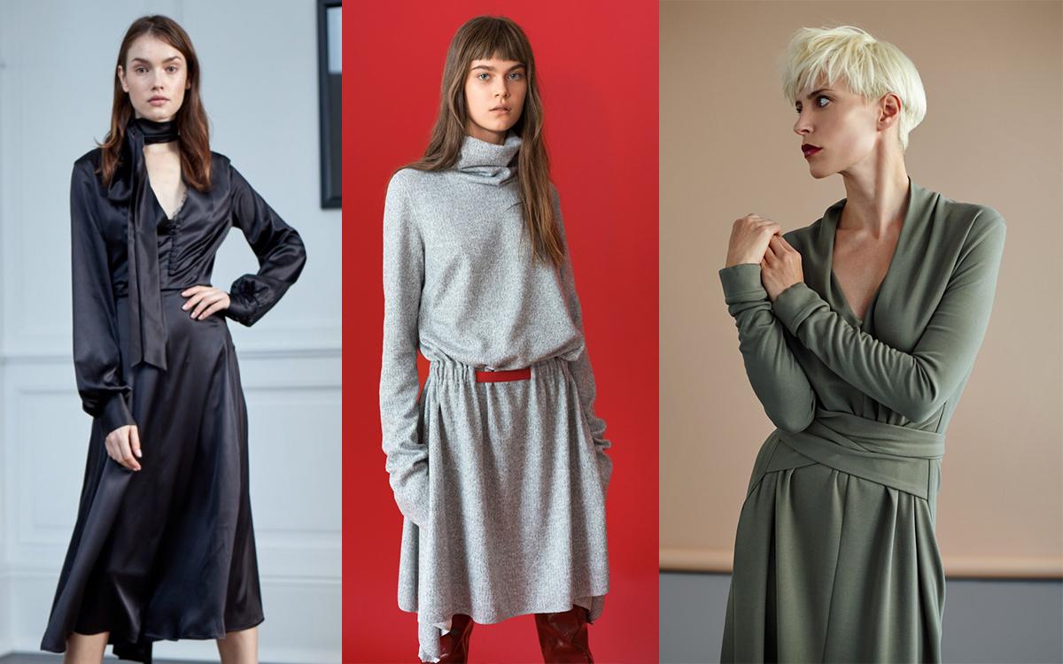 3 najpiękniejsze sukienki polskich projektantów na zimę 2018 (kolaż redakcja, materiały showroom.pl)