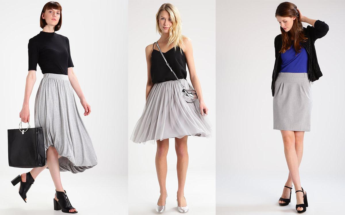 Szara spódnica (kolaż redakcja, materiały Zalando)